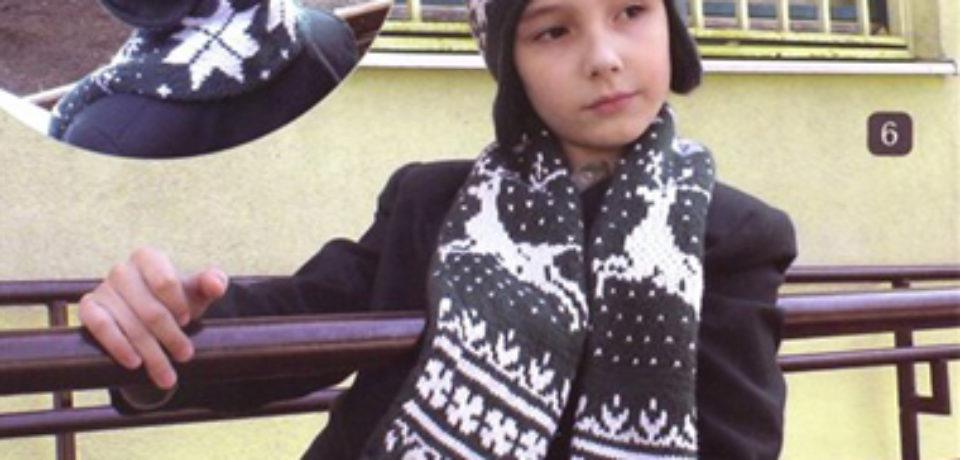 Шапки и шарф для мальчика с жаккардовым рисунком (схемы вязания)