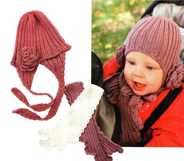 Схема зимней шапочки для девочки с цветком и шарф