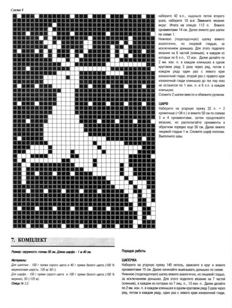 Шапки и шарфа для мальчика с жаккардовым рисунком (схемы вязания)