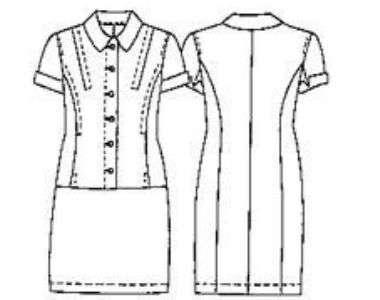 Платье на пуговицах с коротким рукавом и воротником. Выкройка