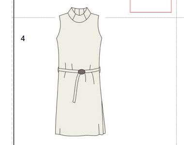 Платье без рукава и с необычным воротником. Скачать выкройку