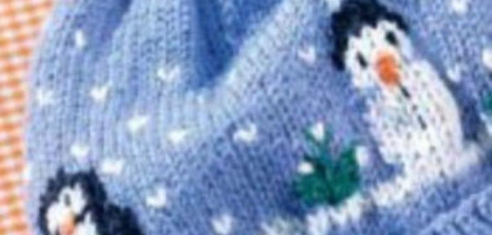 Голубая шапка со снеговиками