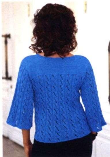 ажурная голубая кофта спицами