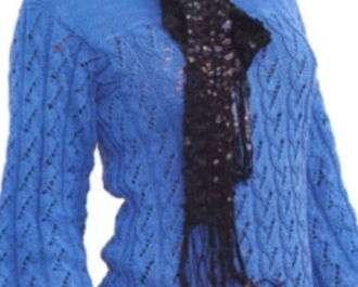 Фжурная голубая кофта спицами