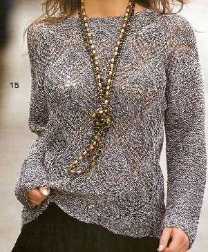 Вязаный пуловер спицами схема