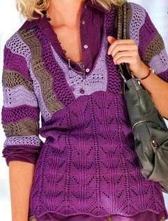 Сиреневый женский пуловер спицами