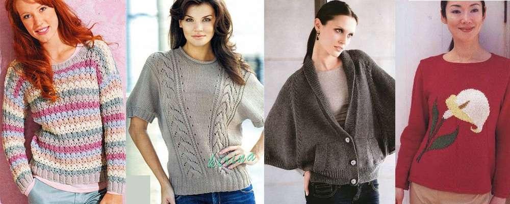 Схемы 4 пуловеров вязание спицами по журналам
