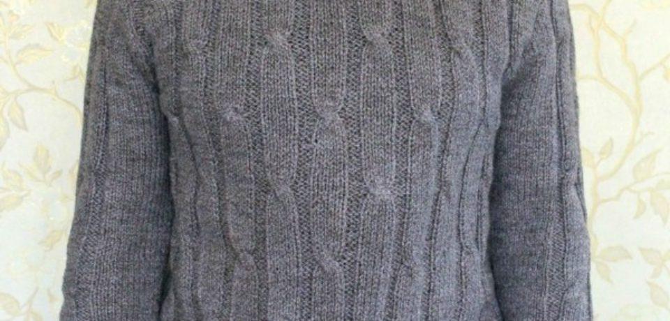 Классический мужской свитер 52 размера спицами