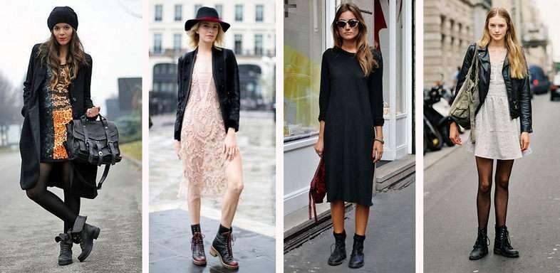 Мода на платья с ботинками